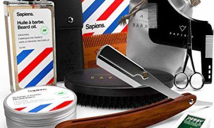 Kit Soin Barbe & Rasage par Sapiens • Coffret Barbe Homme: Huile…