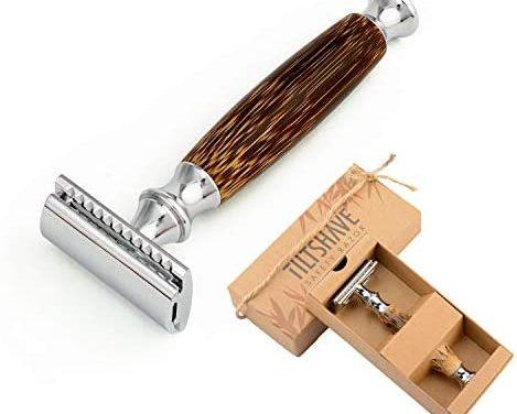 Rasoir de sûreté avec peigne et manche en bambou avec tête de…