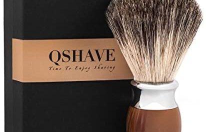QSHAVE Brosse Blaireau de Rasage 100% Poils de Blaireaus…
